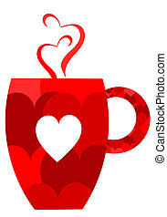 Valentine mug - Red heart valentine mug. Vector illustration