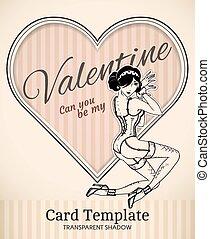 valentine, mulher, cartão, modelo, pin-up