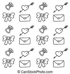 valentine, muster, in, gekritzel, stil