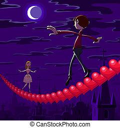 valentine, nacht, het in evenwicht brengen
