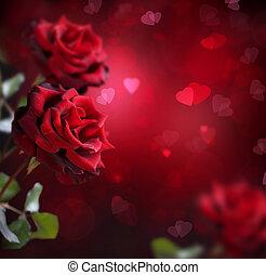 valentine, o, boda, card., rosas, y, corazones