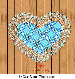 Valentine on a wooden texture