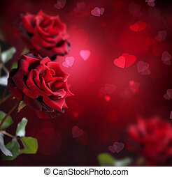 Valentine or Wedding Card. Roses and Hearts