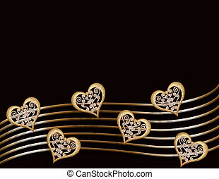 valentine, oro, corazones, en, negro