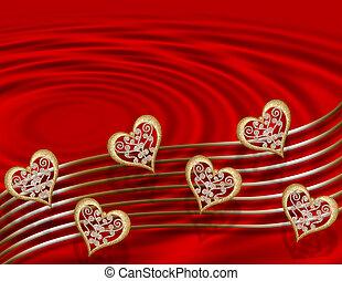 valentine, oro, corazones, en, rojo
