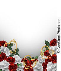 valentine, ou, casório, borda, rosas