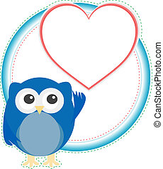 valentine owl boy with heart. holiday vector card