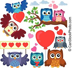 Valentine owls theme collection