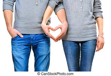 valentine, paar, liebe, ausstellung, herz, mit, ihr, finger