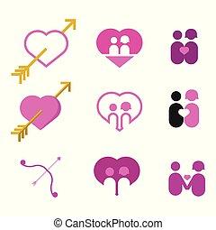 valentine, paar, lieben herz, vektor, abbildung, grafik, satz
