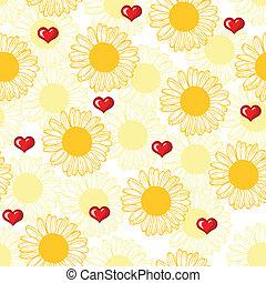 valentine, padrão, com, corações, e, flores