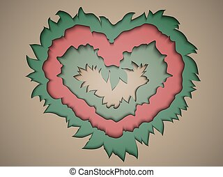 Valentine paper in pastel colours in the style of the material design to cut paper