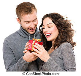 valentine, par jovem, gift., valentine, dia, presente, feliz