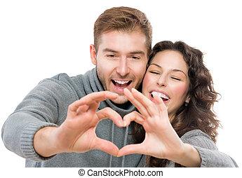 valentine, pareja, aislado, blanco, plano de fondo