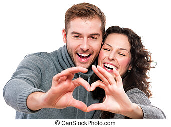 valentine, pareja, elaboración, forma, de, corazón, por, su, manos