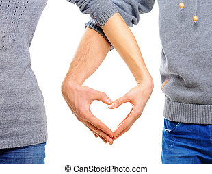 valentine, pareja, enamorado, actuación, corazón, con, su, dedos