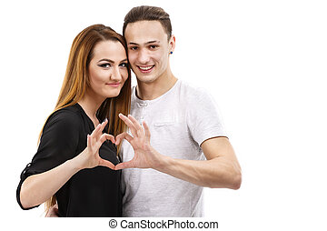 valentine, pareja., retrato, de, sonriente, belleza, niña, y, ella, guapo, novio, elaboración, forma, de, corazón, por, su, hands.