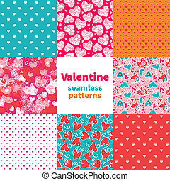 valentine, patrón, conjunto, seamless