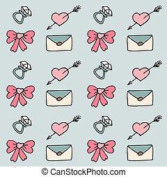 valentine, patrón, en, garabato, estilo