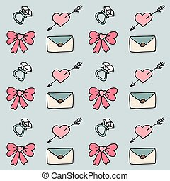 Valentine pattern in doodle style