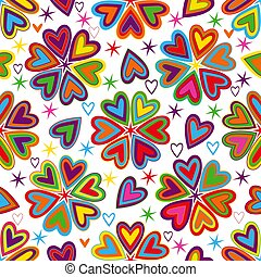 Valentine pattern with colorful vintage hearts