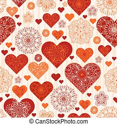 Valentine pattern with red and orange vintage hearts