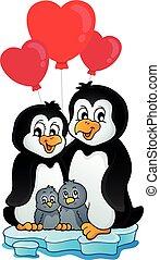 Valentine penguins on iceberg