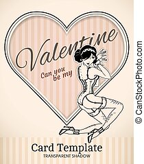 Valentine pin-up woman card template - Vector Valentine...