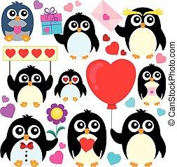 valentine, pinguine, thema, sammlung, 1