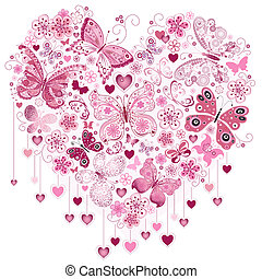 Valentine pink big heart with butterflies isolated on white...