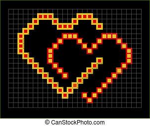 valentine pixel hearts couple