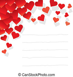 Valentine post it illustration with red hearts.