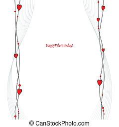 valentine, powitania, karta, dzień