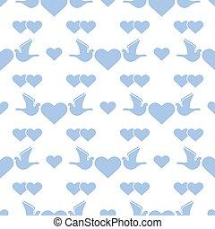 valentine, próbka, wektor, gołębica, dzień, ślub, serce