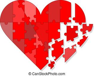 Valentine puzzle heart - Red valentine puzzle heart, broken...