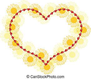 valentine, quadro, com, flores