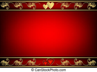 Valentine red background with gold and red hearts (vector)