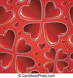 Valentine red glossy heart pattern