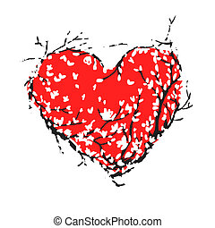 Valentine red heart made from sakura tree for your design