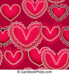 Valentine red hearts seamless background