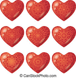 Valentine red hearts with pattern, set