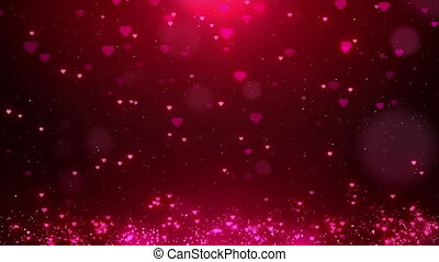 Valentine Red love hearts sparkle glitter particle motion background with bokeh