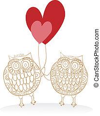 valentine, reizend, eulen