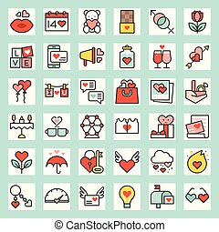 Valentine related filled outline icon size 128 px, drawing ...