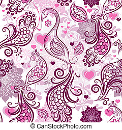 Pink-purple repeating vintage pattern with stylized birds and flowers and hearts (vector eps 10)