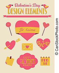 valentine, retro, collection, jour