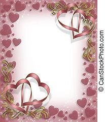 Valentine Ribbon Hearts Border
