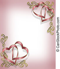 Valentine Ribbon Hearts Design - 3D Illustrated Ribbon...