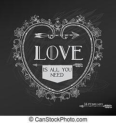 valentine, rocznik wina, -, miłość, wektor, projektować, poślubny dzień, karta
