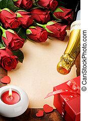 valentine, rocznik wina, ułożyć, róże, papier, czerwony